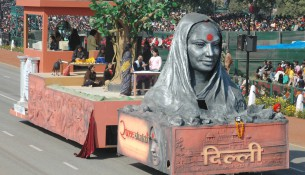 The tableau of Delhi passing through the Rajpath during the full dress rehearsal for the Republic Day Parade-2007, in New Delhi on January 23, 2007.