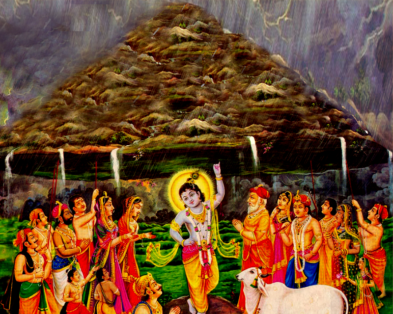 Lord Krishna lifting the Govardhan mountain with his little finger
