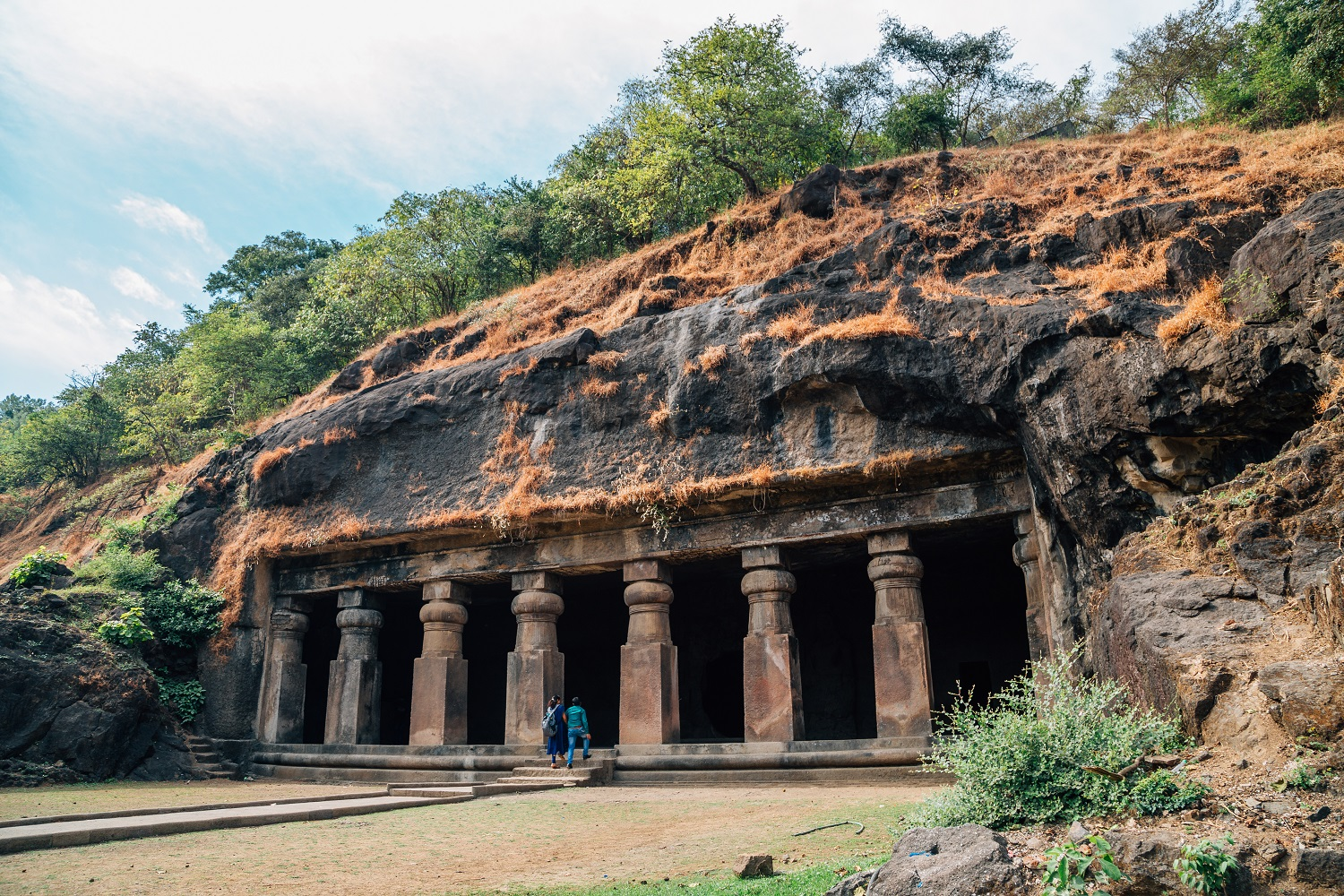 Elephanta Caves historical architecture in Mumbai, India