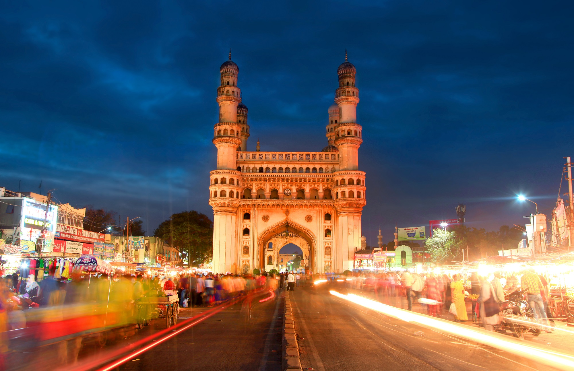 HYDERABAD,INDIA -December 16 Charminar in Hyderabad on December 16,2015 Is listed among the most recognized structures in India, Built in 1591