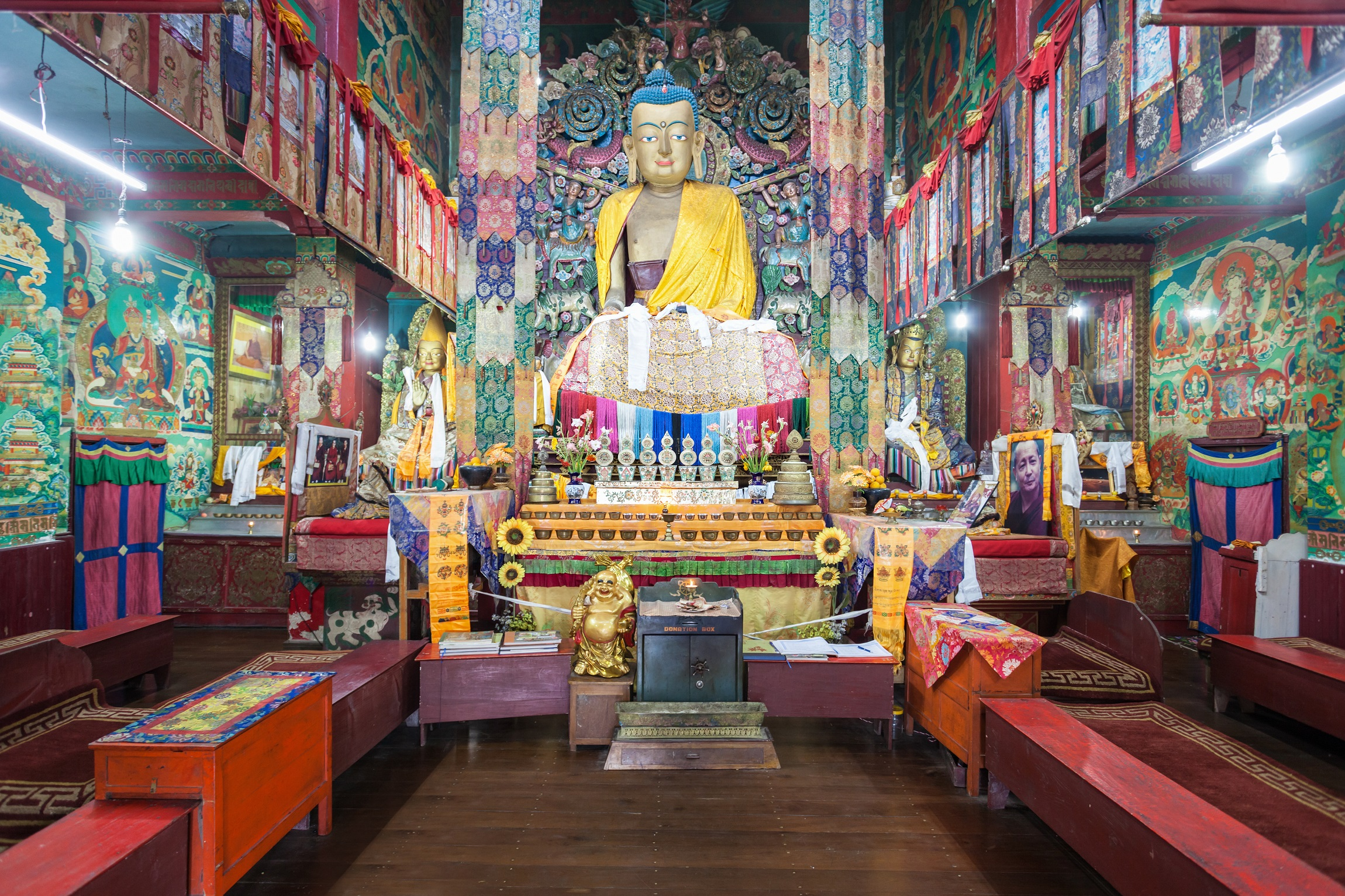 DARJEELING, INDIA - NOVEMBER 17, 2015 Ghoom Monastery interior. It is located in Darjeeling in the state of West Bengal, India